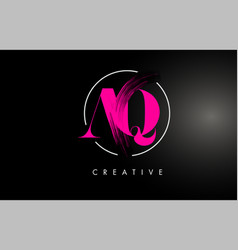 Pink aq brush stroke letter logo design vector