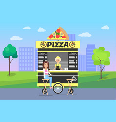 pizza poster and cityscape vector image
