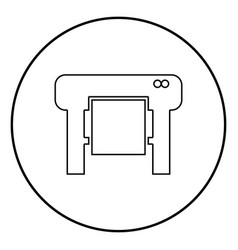 Plotter icon black color in circle round vector