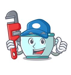 Plumber steel pot mascot cartoon vector