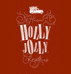 poster holly jolly christmas red vector image