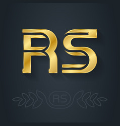 r and s initial gold logo rs - metallic 3d icon vector image