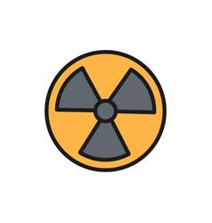 Radiation sign radioactive warning flat vector