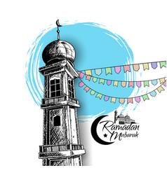 Ramadan mubarak mosque tower and ribbon isolated vector
