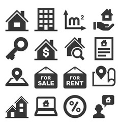real estate icons set on white background vector image