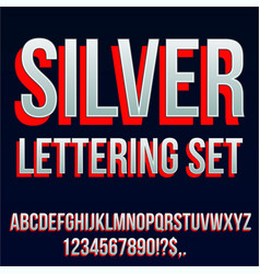 Red silver font vector