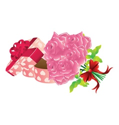 Roses and gift box2 vector image