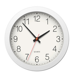 Round wall clock with round divisions and white vector image