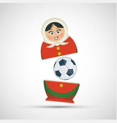 Russian nesting doll matryoshka with a soccer ball vector