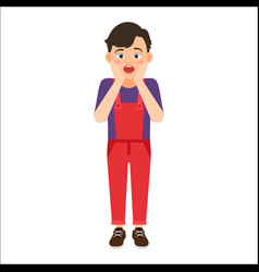 scared boy in denim overalls vector image
