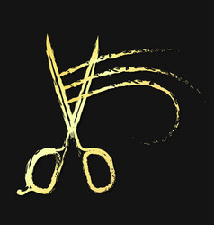 scissors and hair curl gold color vector image