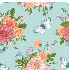 Seamless floral pattern with bouquet vector image