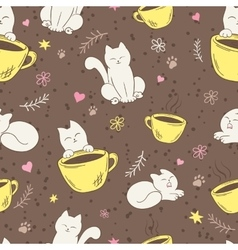 Seamless pattern with cute fluffy cat cup vector