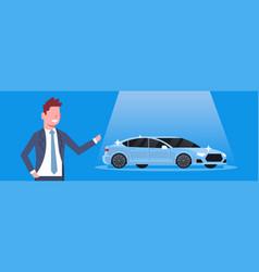 Seller man present new car dealership center vector