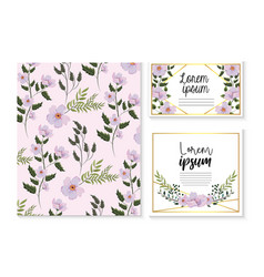 set card and label with exotic flowers and vector image