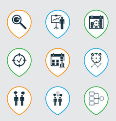 Set of 9 administration icons includes special vector