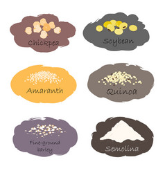 Set of cereal and grain emblems for packing vector