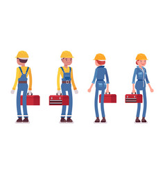 Set of male and female worker standing rear and vector