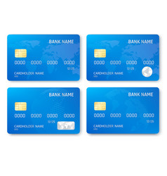 set of realistic credit card template plastic vector image