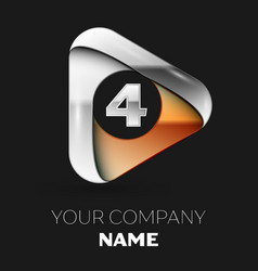 silver number four logo in golden-silver triangle vector image