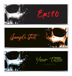 Skull artistic splatter banners black orange vector