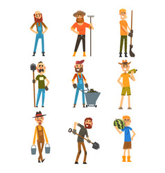 smiling farmers set cheerful gardeners characters vector image