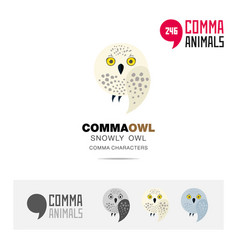 Snowly owl bird concept icon set and logo template vector