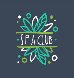 spa club logo floral badge for wellness yoga vector image