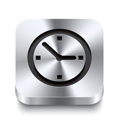 Square metal button perspektive - watch icon vector