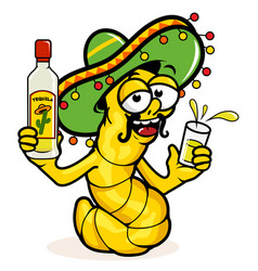 Tequila worm with a bottle vector