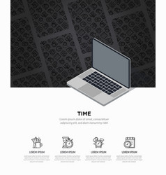 time concept with opened laptop and thin line icon vector image