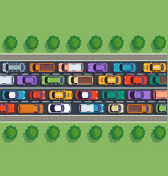 Traffic jam top view many cars on highway vector