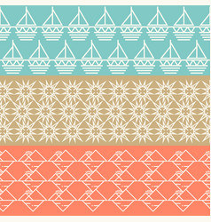 vintage geometric horizontal seamless pattern set vector image