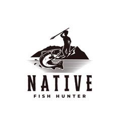 Vintage native hunter logo with a man aiming fish vector
