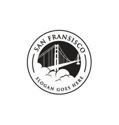 Vintage stamp dan fransisco bridge logo vector