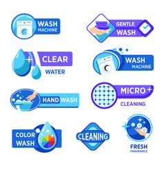 Washing machine and laundry isolated icons wash vector