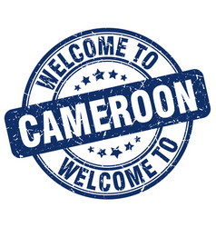 Welcome to cameroon blue round vintage stamp vector