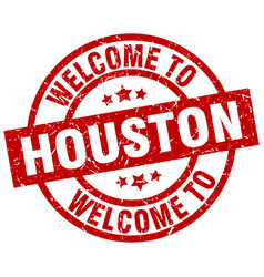 welcome to houston red stamp vector image