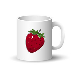 white mug with strawberry vector image
