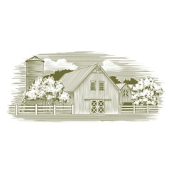Woodcut Rustic Barn vector