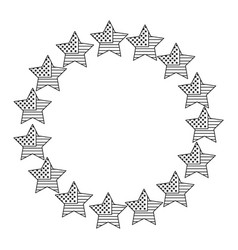 wreath stars american flag sign vector image