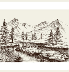 a river in the mountains sketch vector image vector image