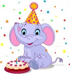 baby elephant birthday vector image