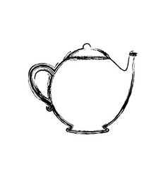 Blurred silhouette teapot drink icon flat vector
