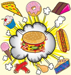 fast food items vector image vector image