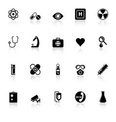 General hospital icons with reflect on white vector image