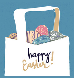 greeting card with with easter eggs easter basket vector image