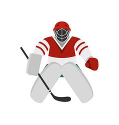 hockey goalkeeper icon flat style vector image