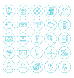 line circle cryptocurrency icons vector image vector image