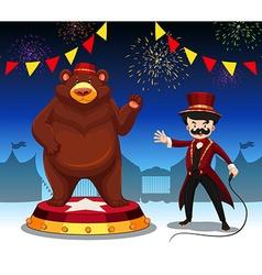 Ring master and bear at circus show vector image
